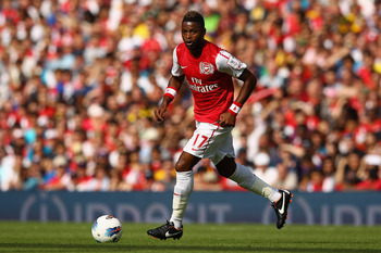LONDON, ENGLAND - JULY 31:  Alex Song of Arsenal runs with the ball during the Emirates Cup match between Arsenal and New York Red Bulls at the Emirates Stadium on July 31, 2011 in London, England.  (Photo by Richard Heathcote/Getty Images)