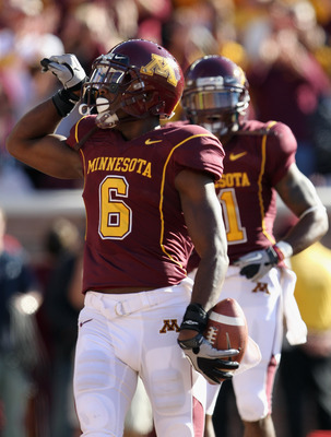 MINNEAPOLIS - SEPTEMBER 18:  Da'Jon McKnight #6 of the Minnesota Golden Gophers celebrates after catching a pass for a touchdown during the game against the USC Trojans on September 18, 2010 at TCF Bank Stadium in Minneapolis, Minnesota.  (Photo by Jamie