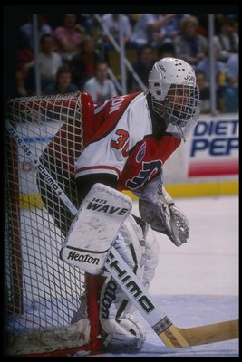 15 Apr 1993:  Goaltender Tommy Soderstrom of the Philadelphia Flyers looks on during a game against the Buffalo Sabres at Memorial Auditorium in Buffalo, New York. Mandatory Credit: Rick Stewart  /Allsport