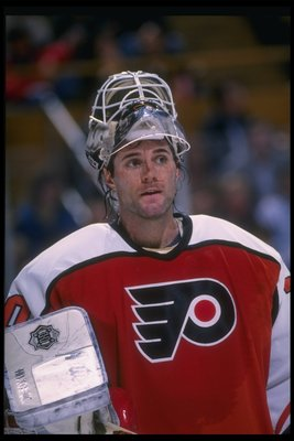 29 Mar 1996:  Goaltender Garth Snow of the Philadelphia Flyers looks on during a game against the Buffalo Sabres at Memorial Auditorium in Buffalo, New York. Mandatory Credit: Rick Stewart  /Allsport