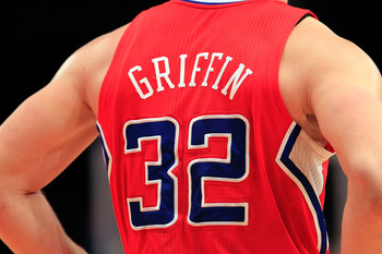 NEW YORK, NY - FEBRUARY 09:  A detailed view of the jersey worn by Blake Griffin #32 of the Los Angeles Clippers during the game against the New York Knicks at Madison Square Garden on February 9, 2011 in New York City. NOTE TO USER: User expressly acknow