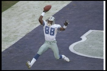 28 Jan 1996:  Wide receiver Michael Irvin of the Dallas Cowboys scores a touchdown during Super Bowl XXX against the Pittsburgh Steelers at Sun Devil Stadium in Tempe, Arizona.  Although the touchdown was nullified by a penalty, the Cowboys won the game,
