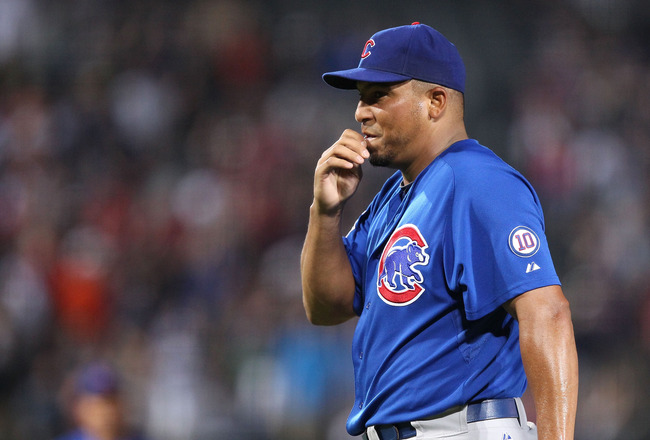 ATLANTA, GA - AUGUST 12:  Pitcher Carlos Zambrano #38 of the Chicago Cubs reacts after throwing a pitch that got him ejected from the game against the Atlanta Braves at Turner Field on August 12, 2011 in Atlanta, Georgia.  (Photo by Mike Zarrilli/Getty Im