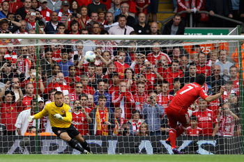 LIVERPOOL, ENGLAND - AUGUST 13:  Luis Suarez of Liverpool misses a penalty kick during the Barclays Premier League match between Liverpool and Sunderland at Anfield on August 13, 2011 in Liverpool, England.  (Photo by Clive Brunskill/Getty Images)