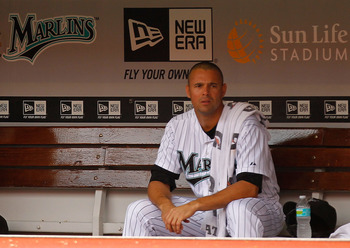 MIAMI GARDENS, FL - AUGUST 07: Javier Vazquez #23 of the Florida Marlins looks on during a game against the St. Louis Cardinals at Sun Life Stadium on August 7, 2011 in Miami Gardens, Florida. (Photo by Mike Ehrmann/Getty Images)