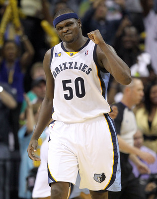 MEMPHIS, TN - APRIL 29:  Zach Randolph #50 of the Memphis Grizzlies celebrates during the Grizzlies 99-91 win over the San Antonio Spurs  in Game Six of the Western Conference Quarterfinals in the 2011 NBA Playoffs at FedExForum on April 29, 2011 in Memph