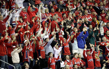 WASHINGTON, DC - MARCH 29:  Washington Capitals fans cheer during the third period against the Carolina Hurricanes at the Verizon Center on March 29, 2011 in Washington, DC.  (Photo by Rob Carr/Getty Images)