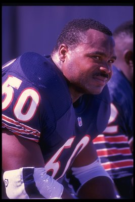 Sep 1991:  Linebacker Mike Singletary of the Chicago Bears looks on during a game against the Minnesota Vikings at Soldier Field in Chicago, Illinois.  The Bears won the game, 10-6. Mandatory Credit: Jonathan Daniel  /Allsport