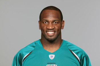 JACKSONVILLE, FL - CIRCA 2010:  In this handout photo provided by the NFL,  Kirk Morrison of the Jacksonville Jaguars poses for his 2010 NFL headshot circa 2010 in Jacksonville, Florida. (Photo by NFL via Getty Images)