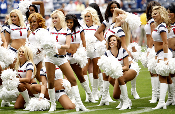 HOUSTON - SEPTEMBER 12:  Houston Texans cheerleaders perform during the NFL season opener at Reliant Stadium on September 12, 2010 in Houston, Texas. Houston won 34-24.  (Photo by Bob Levey/Getty Images)