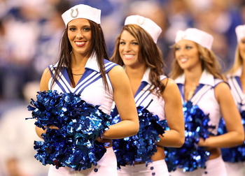 INDIANAPOLIS - NOVEMBER 14:  The Indianapolis Colts cheerleaders perform during the NFL game against the Cincinnati Bengals at Lucas Oil Stadium on November 14, 2010 in Indianapolis, Indiana.  (Photo by Andy Lyons/Getty Images)