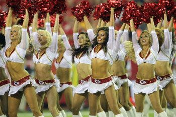 KANSAS CITY, MO - SEPTEMBER 13:  Kansas City Chiefs cheerleaders perform during the game against the San Diego Chargers on September 13, 2010 at Arrowhead Stadium in Kansas City, Missouri.  (Photo by Jamie Squire/Getty Images)