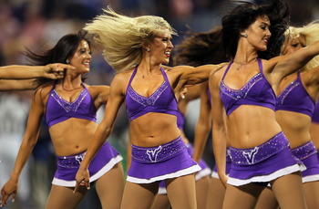 MINNEAPOLIS - SEPTEMBER 26:  Minnesota Vikings cheerleaders perform during a game against the Detroit Lions at Mall of America Field on September 26, 2010 in Minneapolis, Minnesota.  (Photo by Jeff Gross/Getty Images)