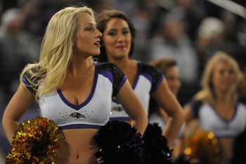 BALTIMORE, MD - NOVEMBER 28:  Cheerleaders for the Baltimore Ravens cheer during the game against the Tampa Bay Buccaneers at M&T Bank Stadium on November 28, 2010 in Baltimore, Maryland. The Ravens defeated the Buccaneers 17-10. (Photo by Larry French/Ge