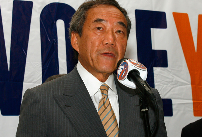 UNIONDALE, NY - AUGUST 01: Owner Charles Wang of the New York Islanders addresses the media to announce that the new arena voter referendum failed on August 1, 2011 in Uniondale, New York. Wang has said that without a new arena, he may have no choice but