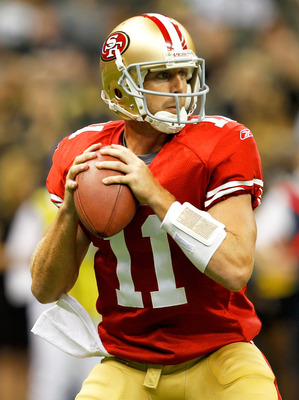 NEW ORLEANS, LA - AUGUST 12:  Alex Smith #11 of the San Francisco 49ers drops back to pass as his team plays the New Orleans Saints during a preseason game at Louisiana Superdome on August 12, 2011 in New Orleans, Louisiana.  (Photo by Sean Gardner/Getty