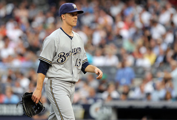NEW YORK, NY - JUNE 28:  Zack Greinke #13 of the Milwaukee Brewers walks to the dugout after the first inning against the New York Yankees during their game on June 28, 2011 at Yankee Stadium in the Bronx borough of New York City.  (Photo by Nick Laham/Ge