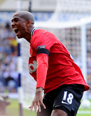 WEST BROMWICH, ENGLAND - AUGUST 14:  Ashley Young of Manchester United celebrates his team's second goal during the Barclays Premier League match between West Bromwich Albion and Manchester United at The Hawthorns on August 14, 2011 in West Bromwich, Engl