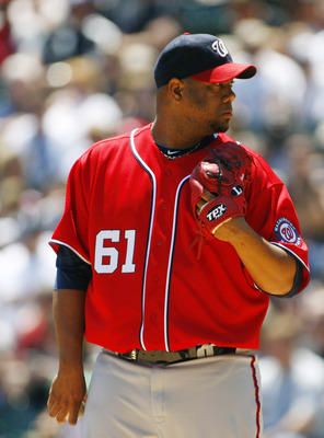 CHICAGO, IL - JUNE 26:  Livan Hernandez #61 of the Washington Nationals pitches against  the Chicago White Sox on June 26, 2011 at U.S. Cellular Field in Chicago, Illinois.  (Photo by Tasos Katopodis/Getty Images)