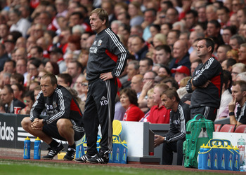 LIVERPOOL, ENGLAND - AUGUST 13:  Liverpool manager Kenny Dalglish looks thoughtful during the Barclays Premier League match between Liverpool and Sunderland at Anfield on August 13, 2011 in Liverpool, England.  (Photo by Clive Brunskill/Getty Images)