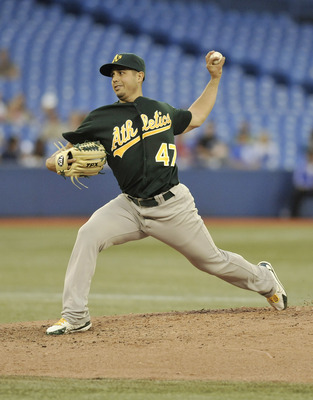 TORONTO, CANADA - AUGUST 10:  Gio Gonzalez #47 of the Oakland Athletics delivers a pitch during MLB game action against the Toronto Blue Jays August 10, 2011 at Rogers Centre in Toronto, Ontario, Canada. (Photo by Brad White/Getty Images)