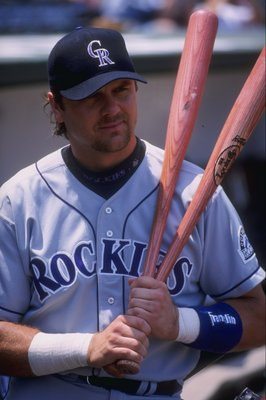 20 Jul 1997:  Outfielder Larry Walker of the Colorado Rockies in action during a game against the Chicago Cubs at Wrigley Field in Chicago, Illinois.  The Rockies won the game 9-5. Mandatory Credit: Jonathan Daniel  /Allsport