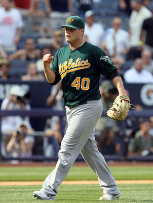 NEW YORK, NY - JULY 23:  Andrew Bailey #40 of the Oakland Athletics celebrates after defeating the New York Yankees on July 23, 2011 at Yankee Stadium in the Bronx borough of New York City.  (Photo by Jim McIsaac/Getty Images)