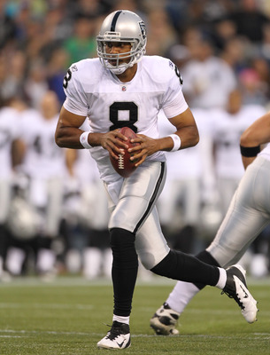 SEATTLE, WA - SEPTEMBER 02:  Quarterback Jason Campbell #8 of the Oakland Raiders drops back to pass against the Seattle Seahawks at CenturyLink Field on September 2, 2011 in Seattle, Washington. (Photo by Otto Greule Jr/Getty Images)