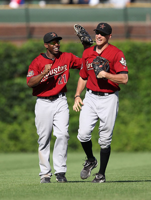 Michael Bourn and Hunter Pence in Astros uniform prior to their trades to join NL East