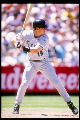 29 May 1994:  First baseman Jeff Conine of the Florida Marlins takes his turn at bat during a game against the San Francisco Giants at Candlestick Park in San Francisco, California. Mandatory Credit: Otto Greule  /Allsport