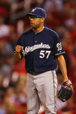 ST. LOUIS, MO - AUGUST 10: Reliever Francisco Rodriguez #57 of the Milwaukee Brewers reacts to beating the St. Louis Cardinals at Busch Stadium on August 10, 2011 in St. Louis, Missouri.  The Brewers beat the Cardinals 5-1.  (Photo by Dilip Vishwanat/Gett