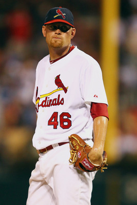 ST. LOUIS, MO - JULY 31: Reliever Kyle McClellan #46 of the St. Louis Cardinals reacts to giving up a two-run home run to Alfonso Soriano #12 of the Chicago Cubs at Busch Stadium on July 31, 2011 in St. Louis, Missouri.  The Cubs beat the Cardinals 6-3.