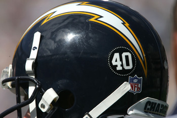 SAN DIEGO, CA - SEPTEMBER 19:   A San Diego Chargers helmet carries a number 40 decal in honor of former NFL player Pat Tillman, who was killed in the line of duty in Afghanistan, during the game with the New York Jets on September 19, 2004 at Qualcomm St