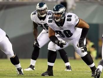 PHILADELPHIA, PA - AUGUST 11:  Austin Howard #68 of the Philadelphia Eagles in action against the Baltimore Ravens during their pre season game on August 11, 2011 at Lincoln Financial Field in Philadelphia, Pennsylvania.  (Photo by Jim McIsaac/Getty Image