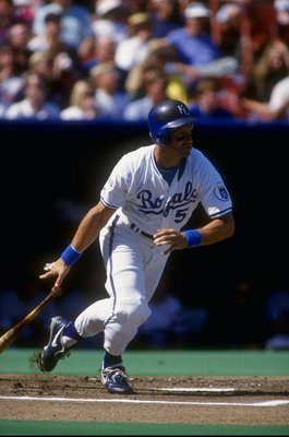 4 Oct 1992:  George Brett #5 of the Kansas City Royals runs after hitting a pitch during a game against the Minnesota Twins. Mandatory Credit: Earl Richardson  /Allsport