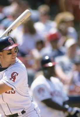 ANAHEIM, CA - MAY 28:  Tim Salmon #15 of the California Angels bats during the game against the Boston Red Sox at Anaheim Stadium on May 28, 1995 in Anaheim, California.  (Photo by Stephen Dunn/Getty Images)