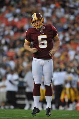 LANDOVER, MD - AUGUST 12:  Shayne Graham #5 of the Washington Redskins reacts after missing a field goal against the Pittsburgh Steelers  at FedExField on August 12, 2011 in Landover, Maryland. The Redskins defeated the Steelers 16-7. (Photo by Larry Fren