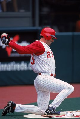 23 Apr 2000:  Hal Morris #23 of the Cincinnati Reds stretches on deck during the game against the Los Angeles Dodgers at Cinergy Field in Cincinnati, Ohio. The Dodgers defeated the Reds 11-3. Mandatory Credit: Harry How  /Allsport
