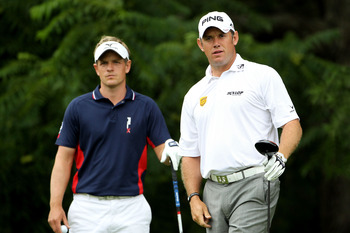 BETHESDA, MD - JUNE 16:  (L-R) Luke Donald of England and Lee Westwood of England look on from the 16th tee during the first round of the 111th U.S. Open at Congressional Country Club on June 16, 2011 in Bethesda, Maryland.  (Photo by Jamie Squire/Getty I