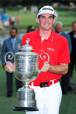 JOHNS CREEK, GA - AUGUST 14:  Keegan Bradley celebrates with the Wanamaker Trophy after winning a three-hole playoff over Jason Dufner during the final round of the 93rd PGA Championship at the Atlanta Athletic Club on August 14, 2011 in Johns Creek, Geor