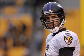 PITTSBURGH, PA - JANUARY 15:  Quarterback Joe Flacco #5 of the Baltimore Ravens stands on the field during warm ups prior to playing the Pittsburgh Steelers in the AFC Divisional Playoff Game at Heinz Field on January 15, 2011 in Pittsburgh, Pennsylvania.