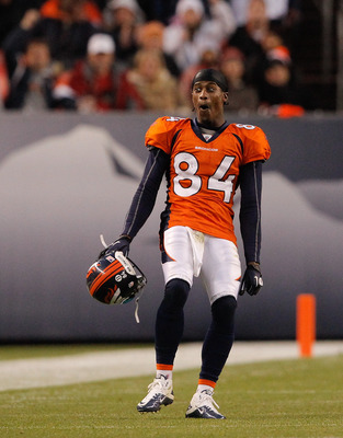 DENVER - NOVEMBER 14:  Wide receiver Brandon Lloyd #84 of the Denver Broncos reacts as his touchdown reception was confirmed by instant replay during the fourth quarter against the Kansas City Chiefs at INVESCO Field at Mile High on November 14, 2010 in D