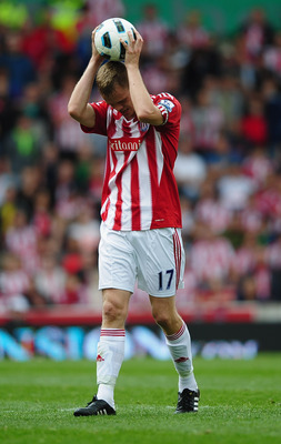 STOKE ON TRENT, ENGLAND - AUGUST 21: Ryan Shawcross of Stoke shows his frustration during the Barclays Premier League match between Stoke City and Tottenham Hotspur at the Britannia Stadium on August 21, 2010 in Stoke on Trent, England.  (Photo by Laurenc