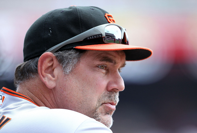 CINCINNATI, OH - JULY 31:  Bruce Bochy the manager of the San Francisco Giants watches action during the game against the Cincinnati Reds at Great American Ball Park on July 31, 2011 in Cincinnati, Ohio.  (Photo by Andy Lyons/Getty Images)