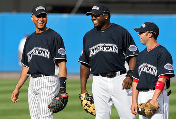 NEW YORK - JULY 14:  Derek Jeter of the New York Yankees, Dustin Pedroia and David Ortiz of the Boston Red Sox looks on during batting practice for the 2008 MLB All-Star game at Yankee Stadium on July 14, 2008 in the Bronx borough of New York City.  (Phot