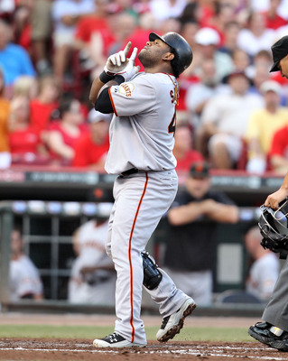 CINCINNATI, OH - JULY 30:  Pablo Sandoval #48 of the San Francisco Giants celebrates after hitting a home run during the game against Cincinnati Reds at Great American Ball Park on July 30, 2011 in Cincinnati, Ohio.  (Photo by Andy Lyons/Getty Images)