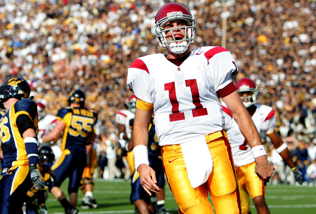 BERKELEY, CA - NOVEMBER 12:  Matt Leinart #11 of the USC Trojans celebrates after scoring a touchdown in the second quarter against the California Golden Bears at Memorial Stadium November 12th, 2005 in Berkeley, California.  (Photo by Jed Jacobsohn/Getty