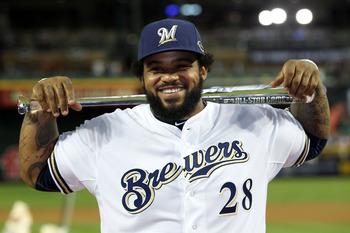 PHOENIX, AZ - JULY 12:  National League All-Star Prince Fielder #28 of the Milwaukee Brewers poses with the Ted Williams Most Valuable Player Award after the National League defeated the American League 5-1 in the 82nd MLB All-Star Game at Chase Field on