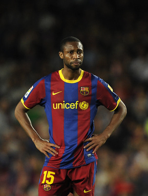 BARCELONA, SPAIN - MAY 15:  Seydou Keita of FC Barcelona looks on during the La Liga match between Barcelona and Deportivo La Coruna at Camp Nou Stadium on May 15, 2011 in Barcelona, Spain.  (Photo by David Ramos/Getty Images)