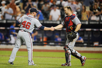 NEW YORK, NY - AUGUST 05:  David Ross #8 (L) congratulates Craig Kimbrel #46  of the Atlanta Braves after defeating the New York Mets at Citi Field on August 5, 2011 in the Flushing neighborhood of the Queens borough of New York City.  (Photo by Patrick M